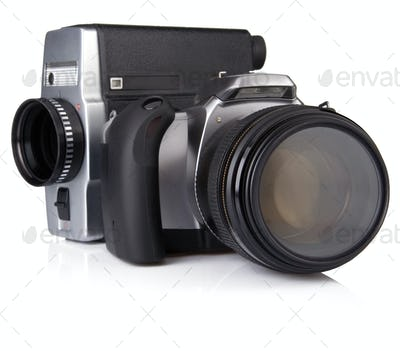 digital photo and film camera isolated on white