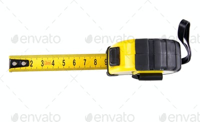 yellow tape measure isolated on white