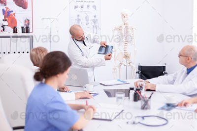 Expert doctor holding radiography