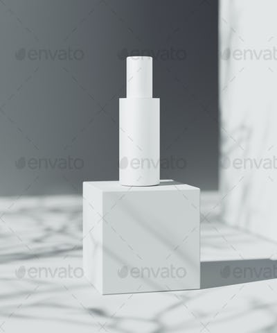 Natural Cosmetic product presentation scene. Ourdoor placement. White blank Jar.