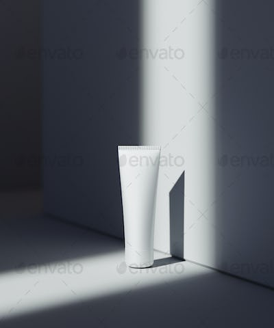 Natural Cosmetic presentation scene. Product placement. White background with dark shadows.