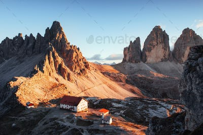 Photo of the big dolomite mountain of Paternkofel at sunset time