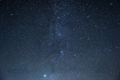 Milky way at center. Photo of beautiful blue night sky filled with stars