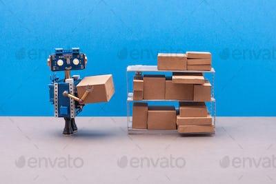 Robot packer storekeeper sorts parcels on shelves.