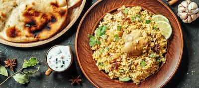 Pakistani chicken biryani rice, top view, copy space