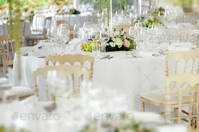 Formal table settings at a wedding venue
