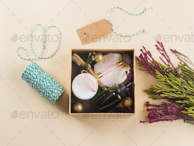 Zero waste beauty christmas gift box with flowers