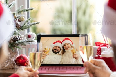 Online Christmas family party during pandemic coronavirus COVID 19