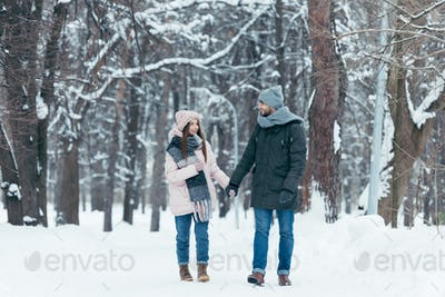 young smiling couple holding hands and walking in winter park