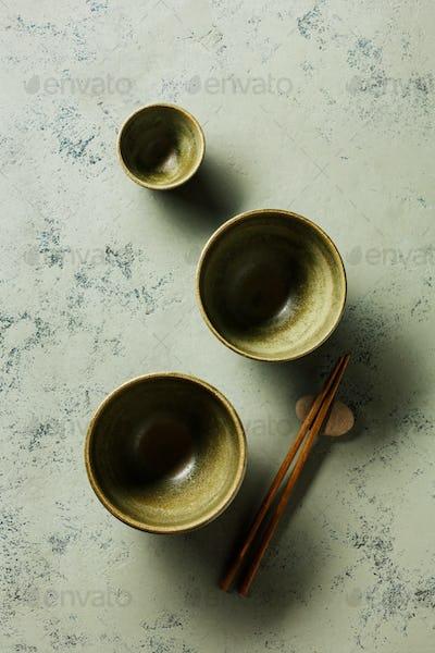 Set of bowls for Asian cuisine