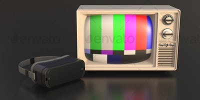 Virtual reality helmet and retro tv on black background. 3d illustration