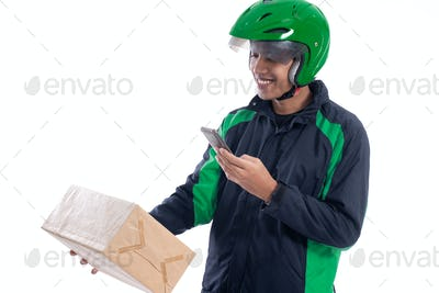 male delivery courier scanning barcode