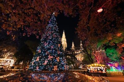 Christmas Tree at Vienna Christmas Market, Rathausplatz, Austria