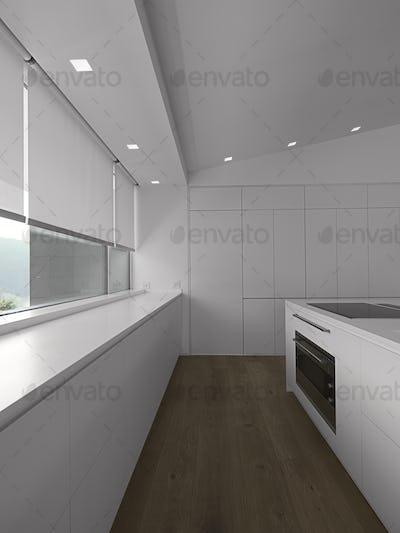 Modern Kitchen Interior with Wooden Floor and Island Kitchen 2217010