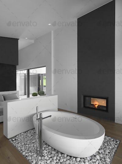 Modern Bathroom Interior with Wooden Floor 2217014