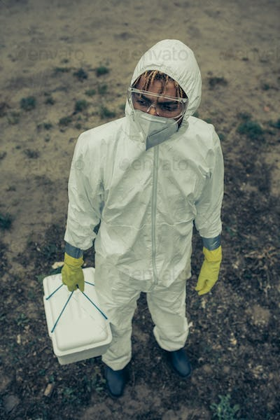 Man with bacteriological protection equipment