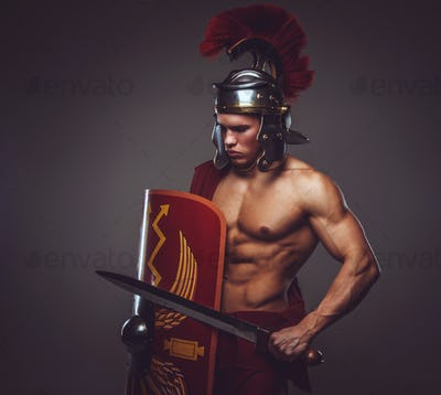 A man in Roman soldier costume.