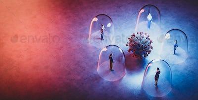 Coronavirus Covid19 between people in glassy protection. Social distancing