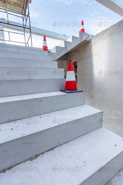 Warehouse stairs construction. Building a new industrial hall