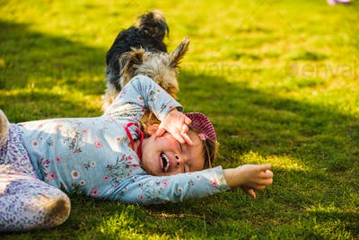 Child with a yorkshire dog ona green grass in backyard having fun.