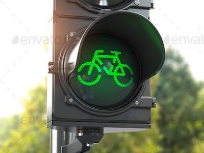 Bicycle green signal on traffic light. Free bike road or zone for bikes.  Bike friendly politics