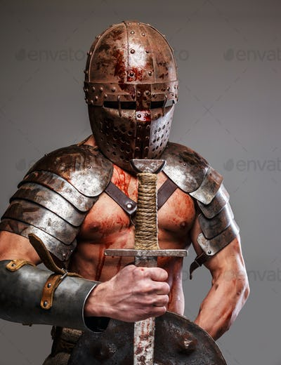 Gladiator holding shield and sword