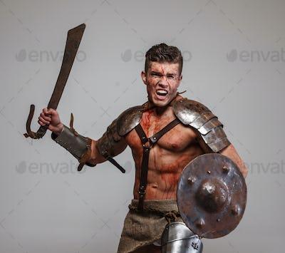 Gladiator in attack position