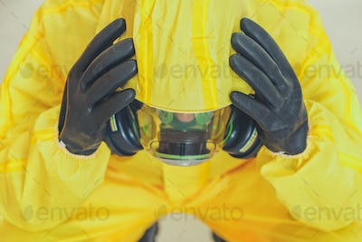 Pandemic Covid Mental Issues Concept with Men in Hazmat