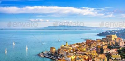 Porto Santo Stefano village, church and castle aerial view. Argentario, Tuscany, Italy