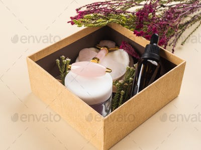 Zero waste beauty skin care gift box with flowers