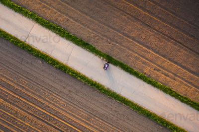 Aerial shoot of woman with child in stroller an a dog on a leash on rural road to forest