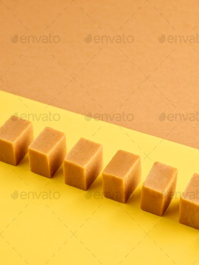 line of caramel candies