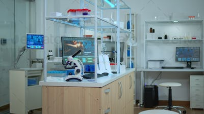 Empty laboratory modernly equipped