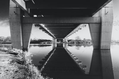 Milenium bridge in Wroclaw, Poland, black and white