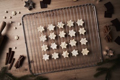 Top view of star shaped cookies