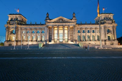 The Reichstag in Berlin at night