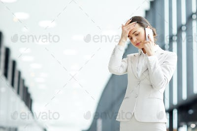 Troubled businesswoman