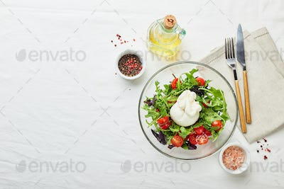 Burrata, Italian fresh cheese with salad