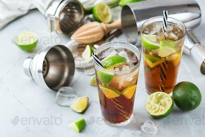 Cuba libre or long island iced tea alcohol cocktail drink
