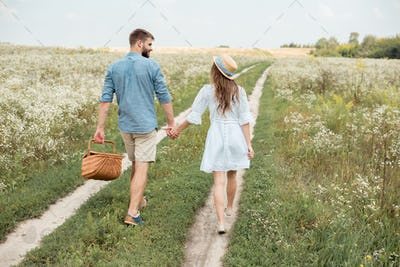 rear view of couple with picnic basket holding hands while walking in field