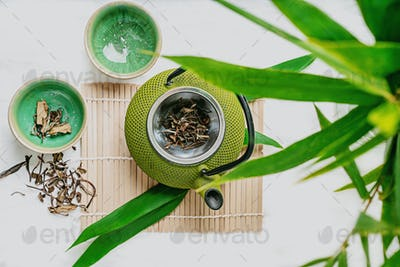 Chinenese dry tea leaves with teapot