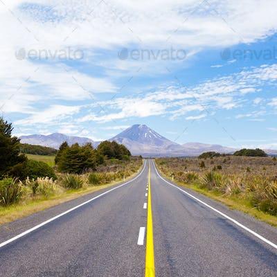 Road leading to active volcanoe Mt Ngauruhoe NZ