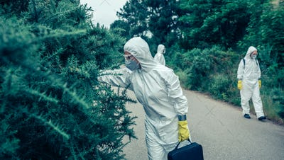 People in bacteriological protection suits looking for samples on empty road