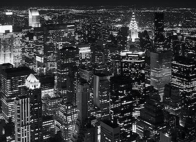 Aerial photo of Manhattan at night.