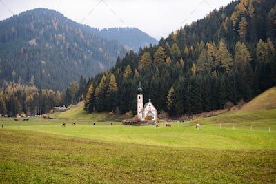 San Giovanni Church in autumn, Dolomites.
