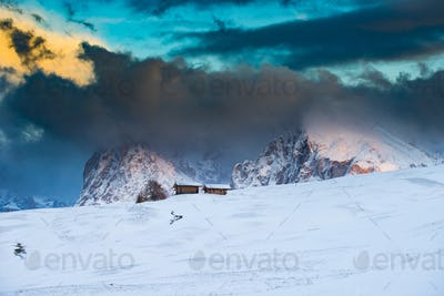 Amazing winter landscape at sunset in Alpe di Siusi, Dolomites, Italy - winter holidays destination