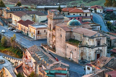 Sunset over old famous medieval village Stilo in Calabria