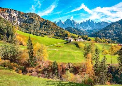 Colorful autumn scene of magnificent  Santa Maddalena village in Dolomites