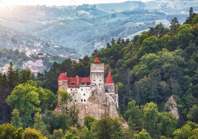 Landscape with medieval Bran castle known for the myth of Dracula