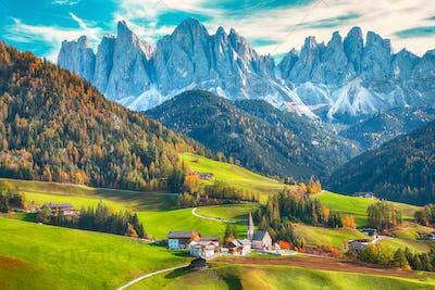 Awesome autumn scene of magnificent  Santa Maddalena village in Dolomites